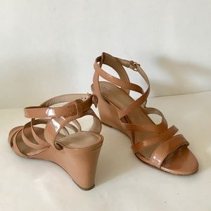 J. Crew Marci Patent Leather Wedge Sandals Tan